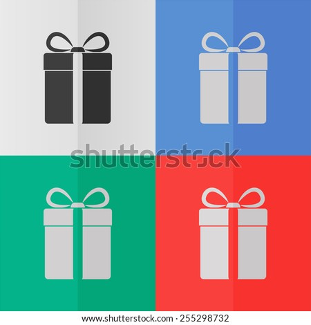 Gift box vector icon. Effect of folded paper. Colored (red, blue, green) illustrations. Flat design