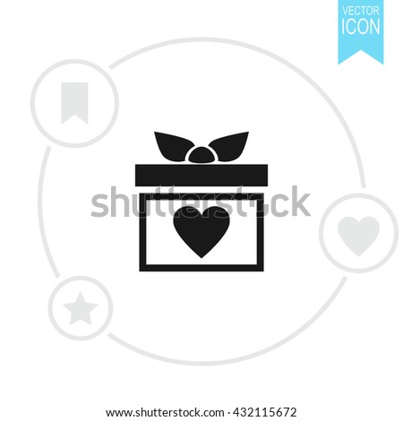 Gift box vector icon. Present with heart  - stock vector