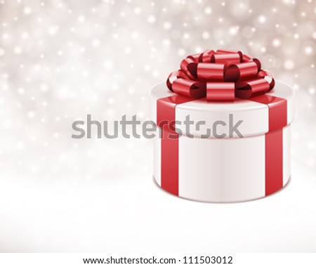 Gift box with bow and light. Vector background - stock vector