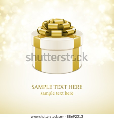 Gift box with bow and light. Vector background eps 10. - stock vector
