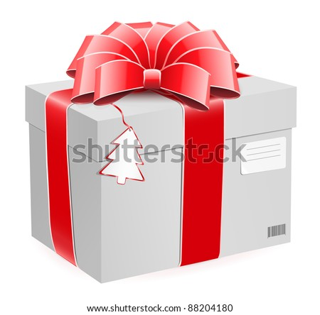 Gift box with bow and postage label.