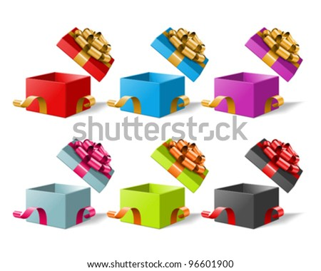 Gift box with bow and ribbon set. Vector illustration eps 10. - stock vector