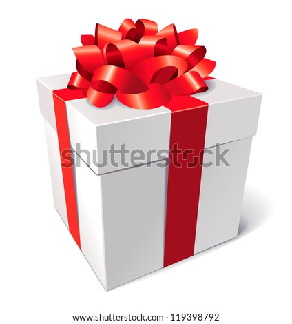 Gift box with bow, isolated on white background, vector illustration - stock vector