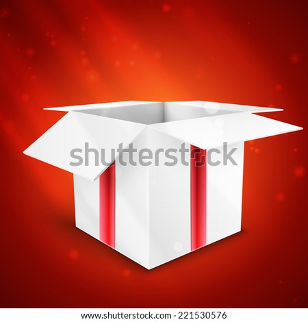 gift box with bow vector illustration isolated on red background - stock vector
