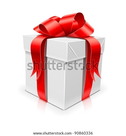 gift box with bow vector illustration isolated on white background