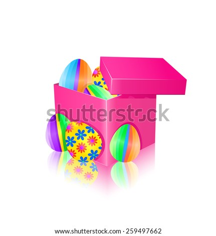 Gift box with colorful easter eggs. Vector illustration. - stock vector