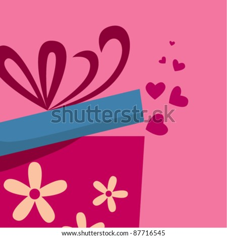 Gift box with fly hearts - stock vector