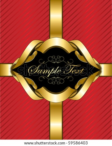 gift box with gold ribbon and a frame for your text - stock vector