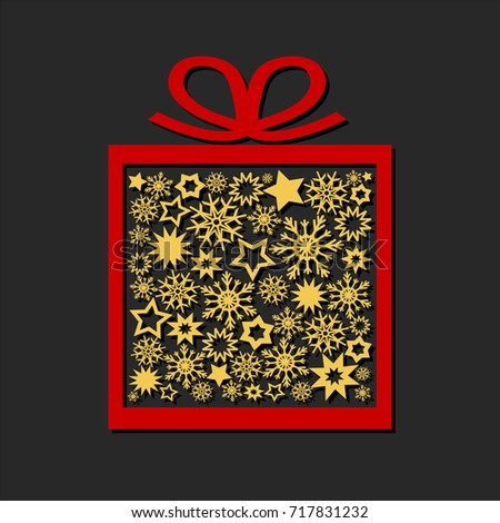 Gift box with golden stars and snowflakes on dark background, merry christmas ans happy new year card, stock vector illustration