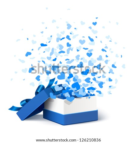 Gift box with hearts - stock vector