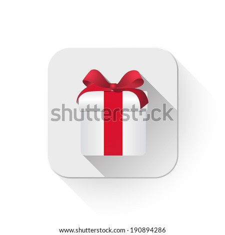 gift box With long shadow over app button - stock vector