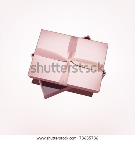 Gift box with pink ribbon - stock vector