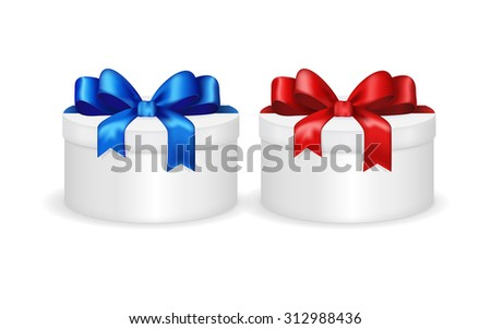 Gift box with red and blue ribbon and bow. Christmas gift. Vector isolated on white.