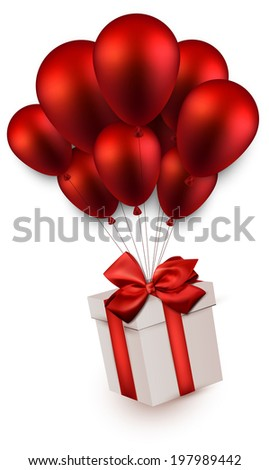 Gift box with red bow flying on balloons. Celebration background. Vector illustration.  - stock vector