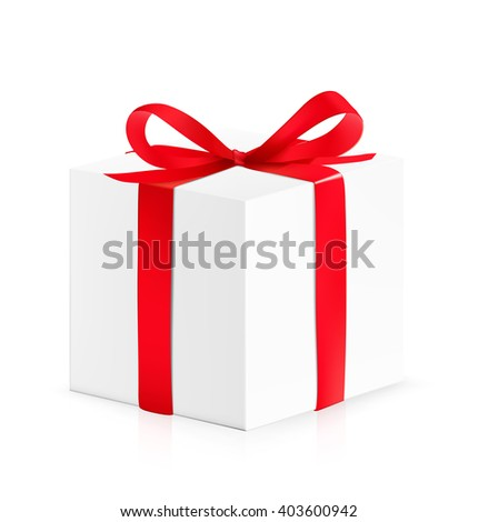 Gift box with red bow isolated on white background. Vector illustration