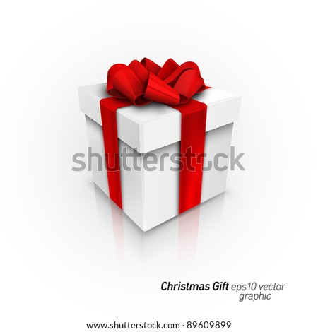 Gift Box with Red Ribbon Bow | Detailed 3D EPS10 Vector Graphic | Separate Layers Named Accordingly - stock vector