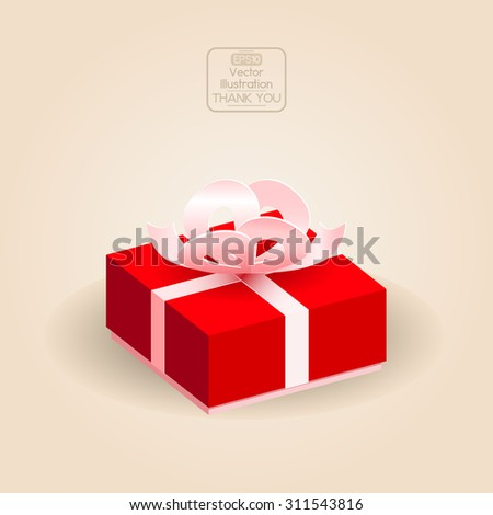 Gift box with ribbon and bow. Vector illustration. - stock vector