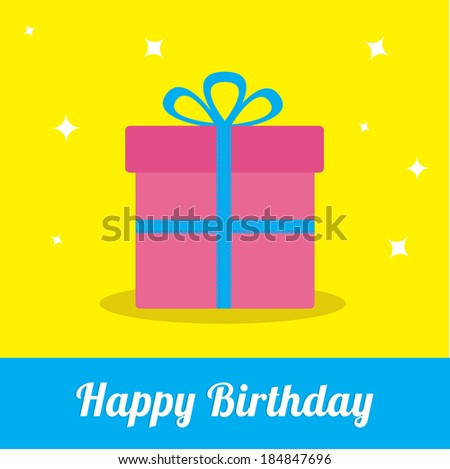 Gift box with ribbon and bow with sparkles. Happy Birthday card. Vector illustration. - stock vector