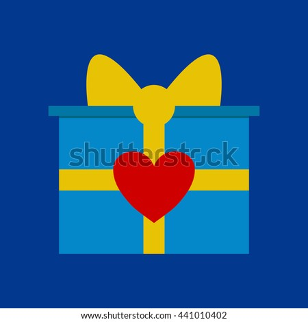Gift box with ribbon and heart shape vector. - stock vector