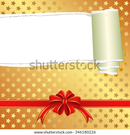 gift box with torn paper and transparent space insert for text - stock vector