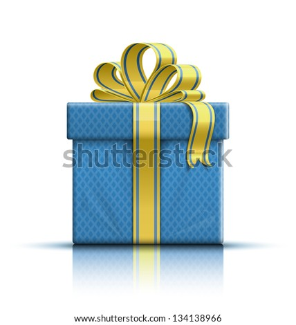 Gift box with yellow ribbon and bow. Vector illustration - stock vector
