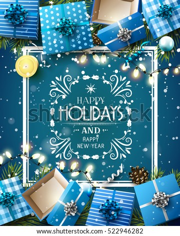 Gift boxes and baubles on blue background - Luxury Christmas greeting card with calligraphic inscription