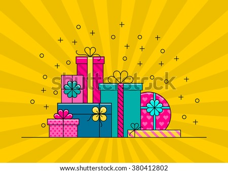 Gift boxes. Big pile of colorful wrapped gift boxes. Gift box vector. Gift box isolated. Gift box collection. Cute illustration of gift box. Present, greeting, surprise. Greeting box. Wrap gift box. - stock vector