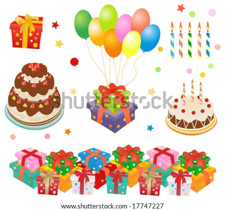 gift boxes, cakes, balloons vector