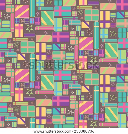 Gift Boxes Colorful Seamless Pattern