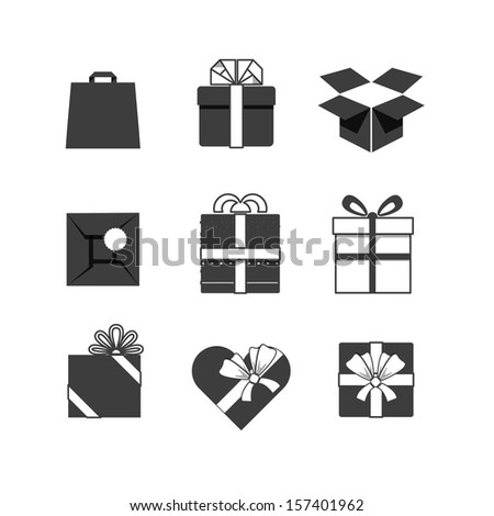 Gift boxes icons collection isolated on white - stock vector