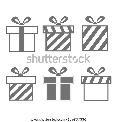 Gift boxes icons set - stock vector