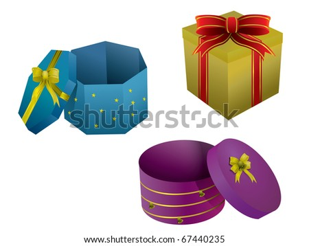 Gift boxes isolated on white - stock vector
