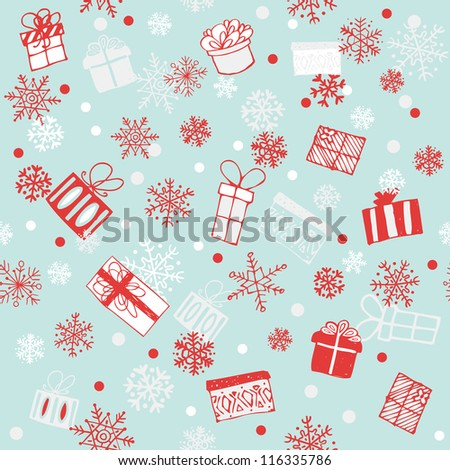 gift boxes seamless background - stock vector