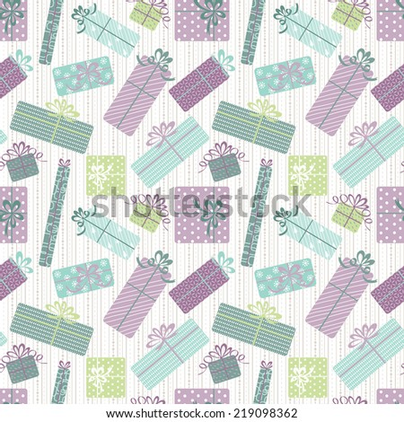 Gift boxes seamless pattern - stock vector