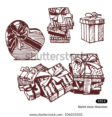 Gift boxes set. Hand drawn sketch illustration isolated on white background - stock vector