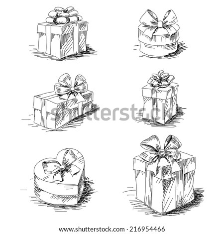 Gift boxes sketch collection isolated - stock vector