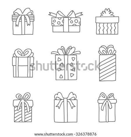 Gift boxes. Vector icons, hand-drawn. - stock vector