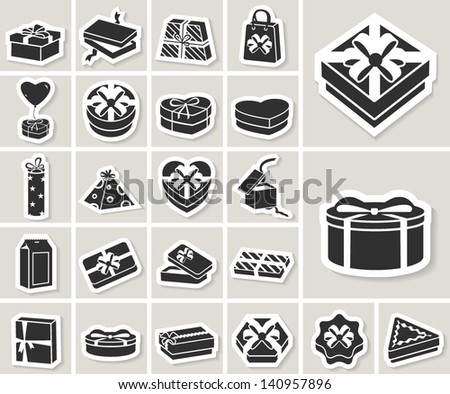 gift boxes vector icons set. paper stickers - stock vector