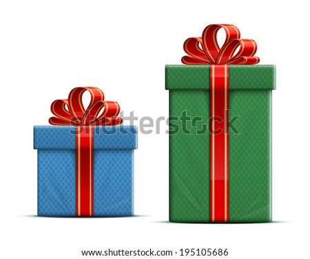 Gift boxes with a red ribbon and a bow. Vector illustration - stock vector
