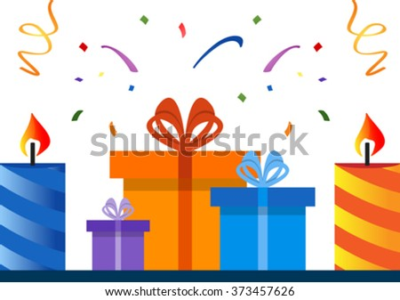Gift boxes with candles and confetti. EPS 10 - stock vector