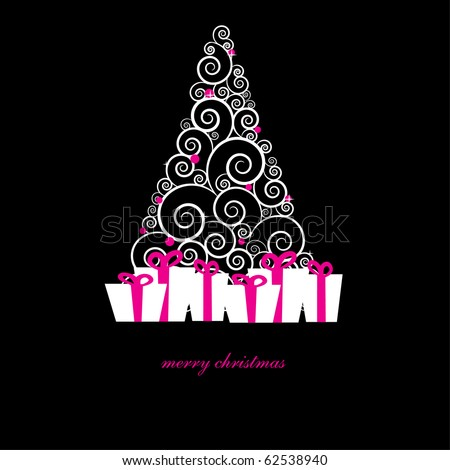 Gift boxes with pink bows under christmas tree.  Holiday card in dark colors.