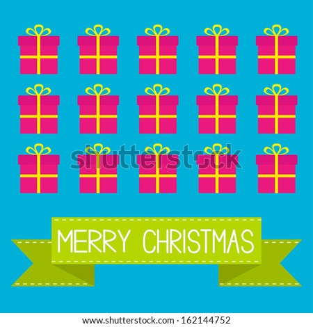 Gift boxes with ribbons and bows. Merry Christmas card. Vector illustration. - stock vector