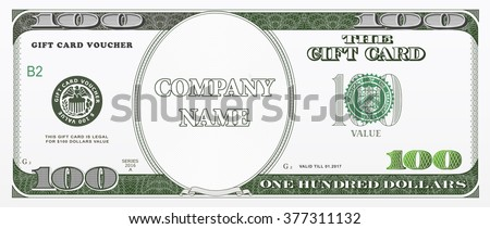 Gift card design template with hundred dollars value. Good for coupon, vouchers, discount cards - stock vector