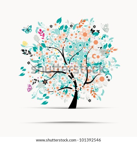 Gift card design with floral tree - stock vector