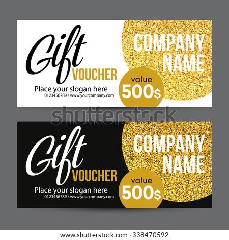 Gift certificate stock images royalty free images vectors gift card design with gold glitter texture vector illustration eps10 negle Gallery