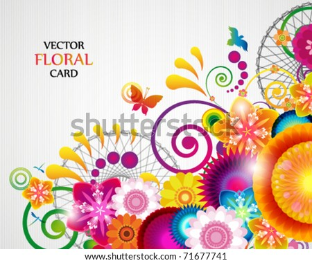 Gift card. Floral design background. - stock vector