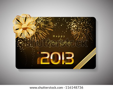 Gift card for Happy New Year celebration with golden ribbon. EPS 10. - stock vector