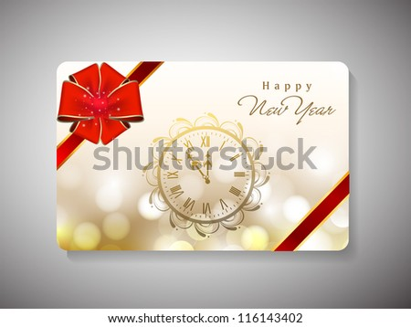 Gift card for Happy New Year celebration with red ribbon and wall watch. EPS 10. - stock vector