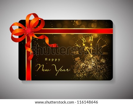 Gift card for Happy New Year celebration with red ribbon. EPS 10. - stock vector