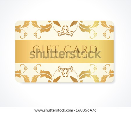 Gift card, Gift coupon,  (discount card, business card) with gold floral (scroll, swirl) gold swirl pattern (tracery). Holiday background design for invitation, ticket. Vector - stock vector
